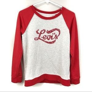 Levi's Red Graphic Print Logo Sweatshirt Sz Sm